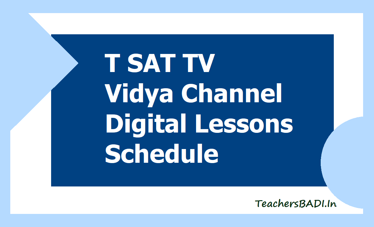 T SAT TV Vidya Channel Digital Lessons Schedule 2020