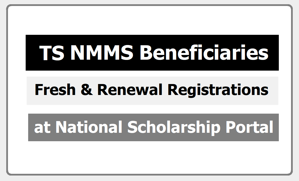 TS NMMS Beneficiaries Fresh & Renewal Registrations 2020 at NSP Portal for get a Scholarship