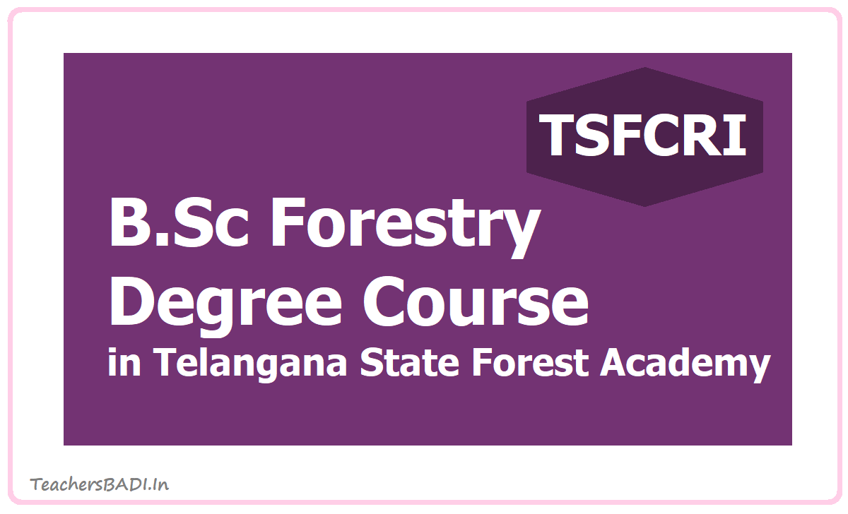 4 Years B.Sc Forestry Degree Course in Telangana State Forest Academy, Medak District