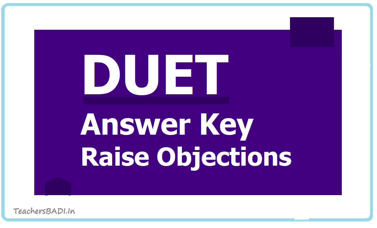 DUET Answer Key 2020 download & Raise objections on Preliminary Answer key