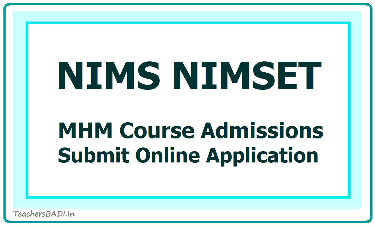 NIMS NIMSET 2020 for MHM Course Admission