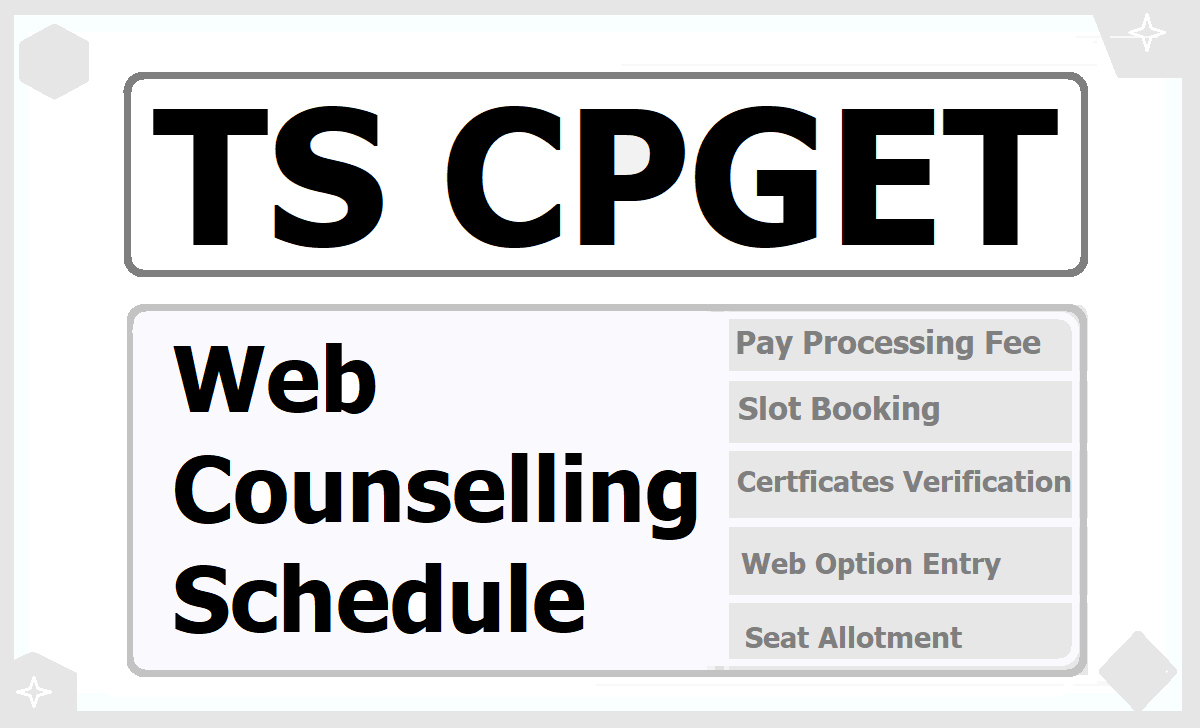 TS CPGET Web Counselling Schedule 2020 for Slot booking, Certificate Verification & Web Option Entry for PG Admissions