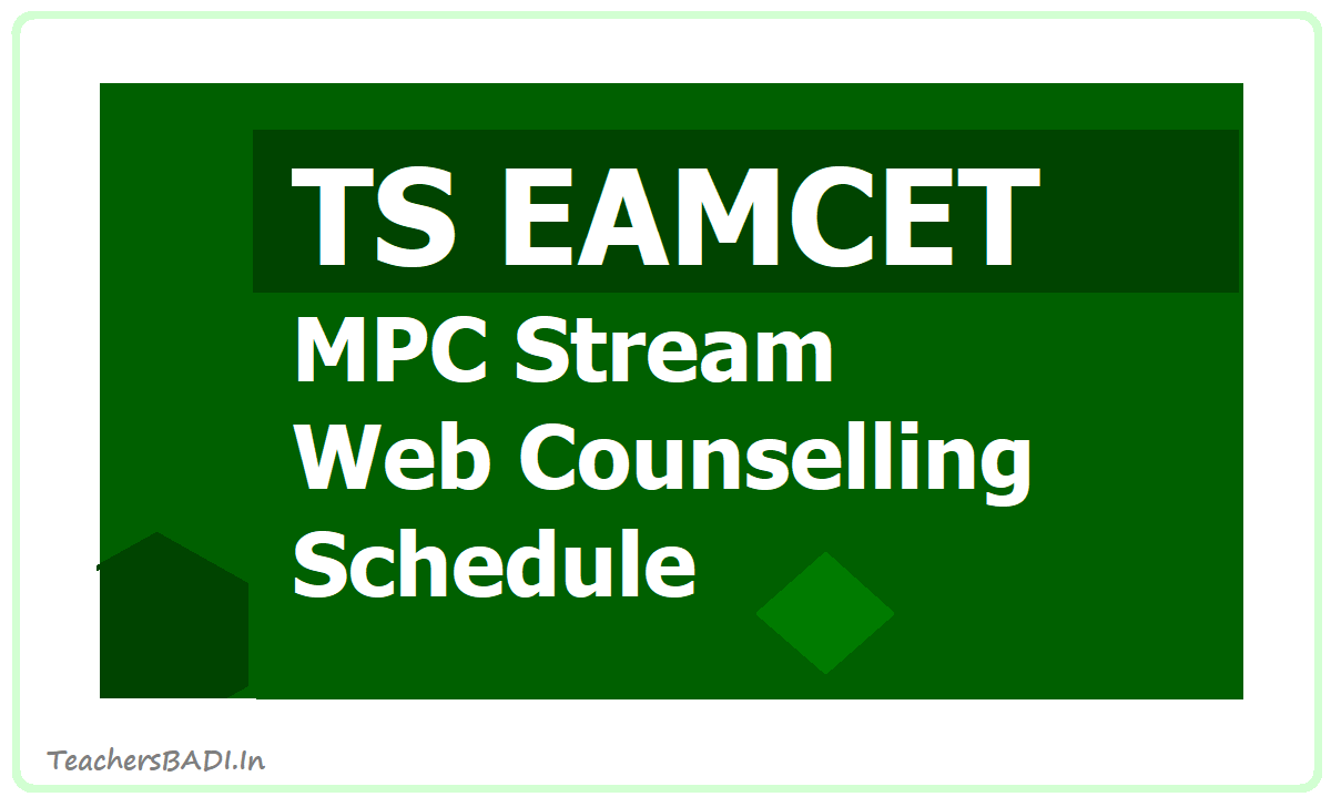 TS EAMCET MPC Stream Web Counselling Schedule 2020  for Certification Verification, Web Option Entry