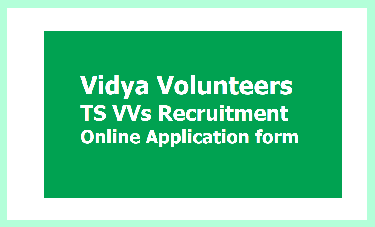 TS VVs Recruitment Online Application form