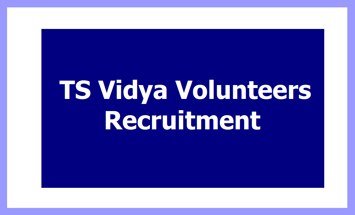 TS Vidya Volunteers Recruitment 2020