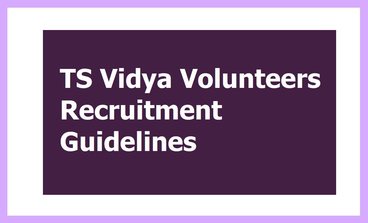 TS Vidya Volunteers Recruitment New Guidelines