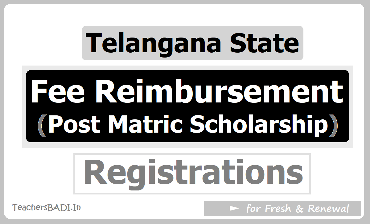 Telangana Fee Reimbursement Post matric Scholarship Registrations for Fresh & Renewal 2020
