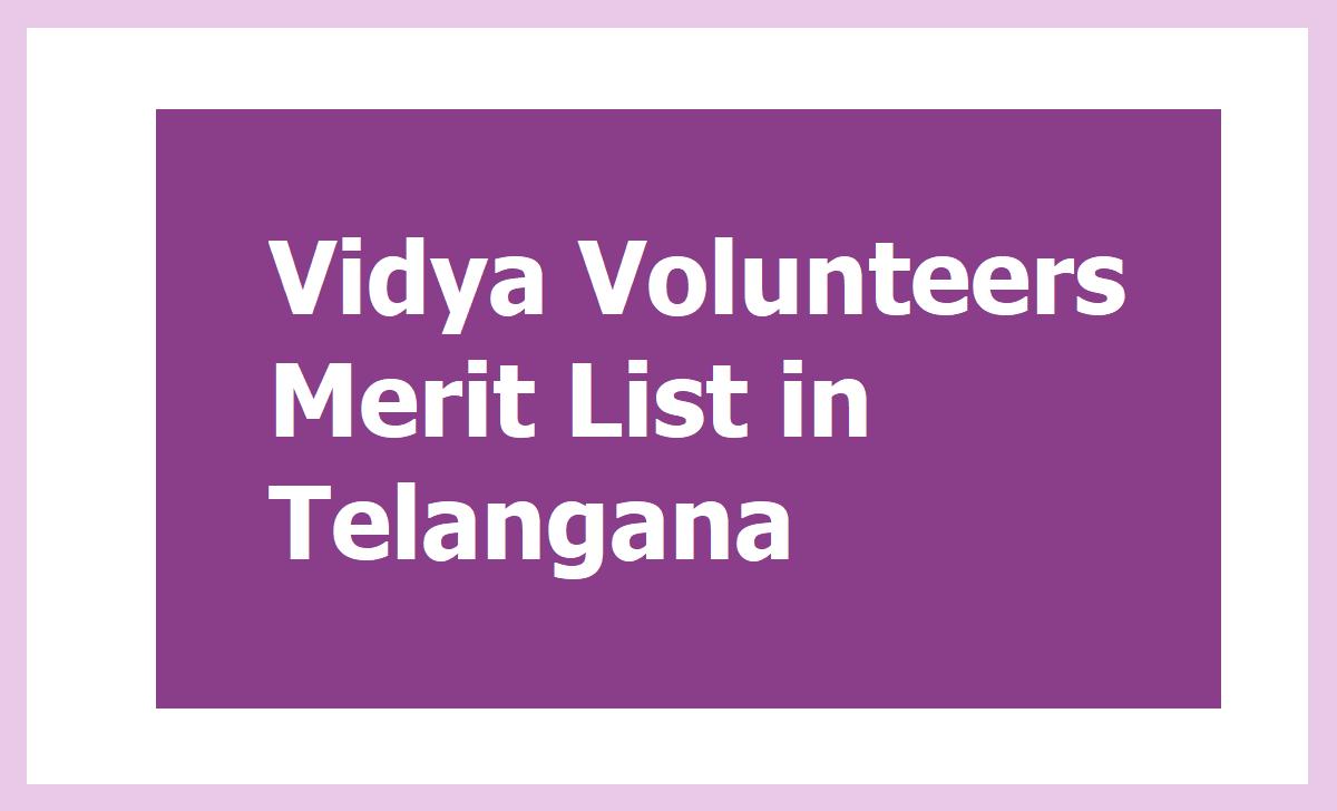 Vidya Volunteers Merit List in Telangana