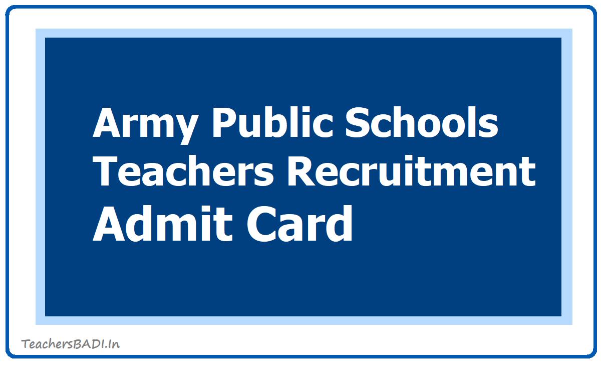 APS Army Public Schools Teachers Recruitment Admit Card 2020