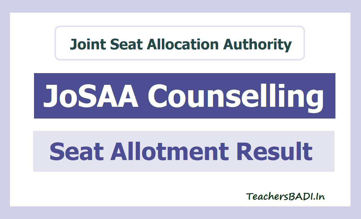 JoSAA Seat Allotment Result 2020 for JEE Advanced Admissions