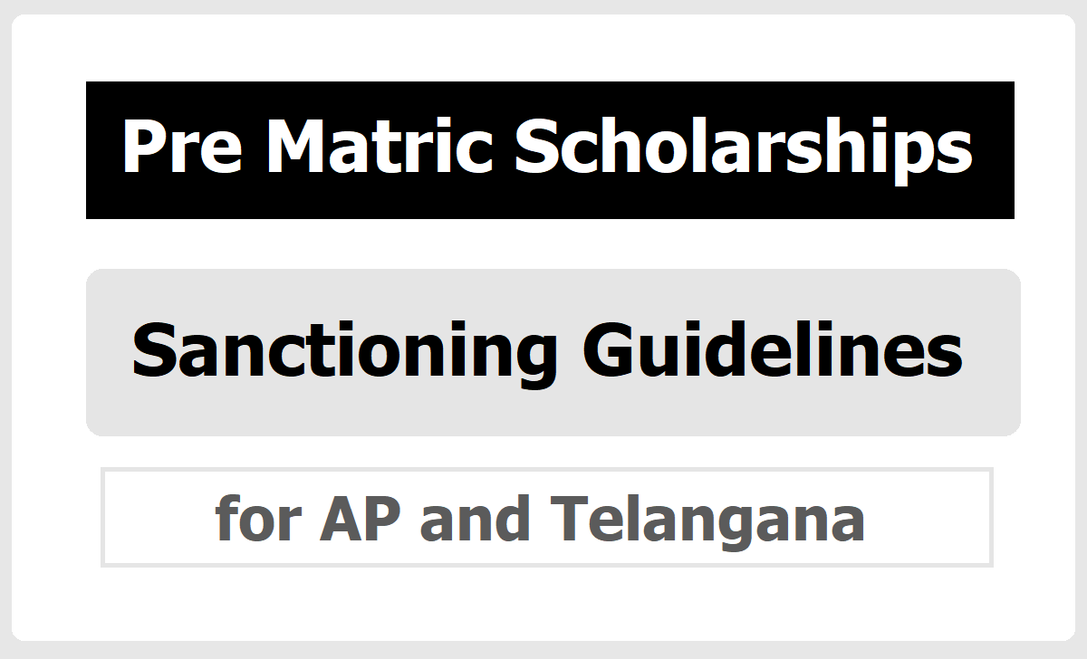 Pre-Matric Scholarships to SC Students, Certain Guidelines for AP Telangana