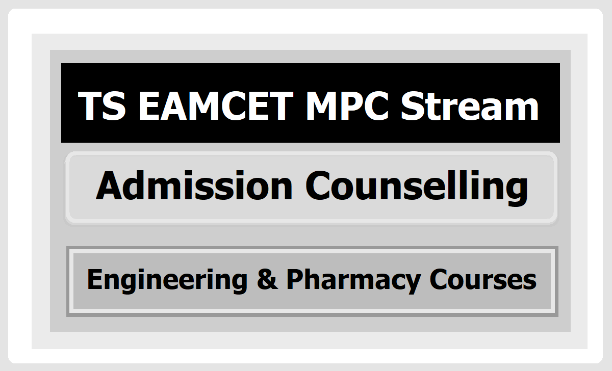 TS EAMCET MPC Stream Admission Counselling 2020 for Engineering & Pharmacy Courses