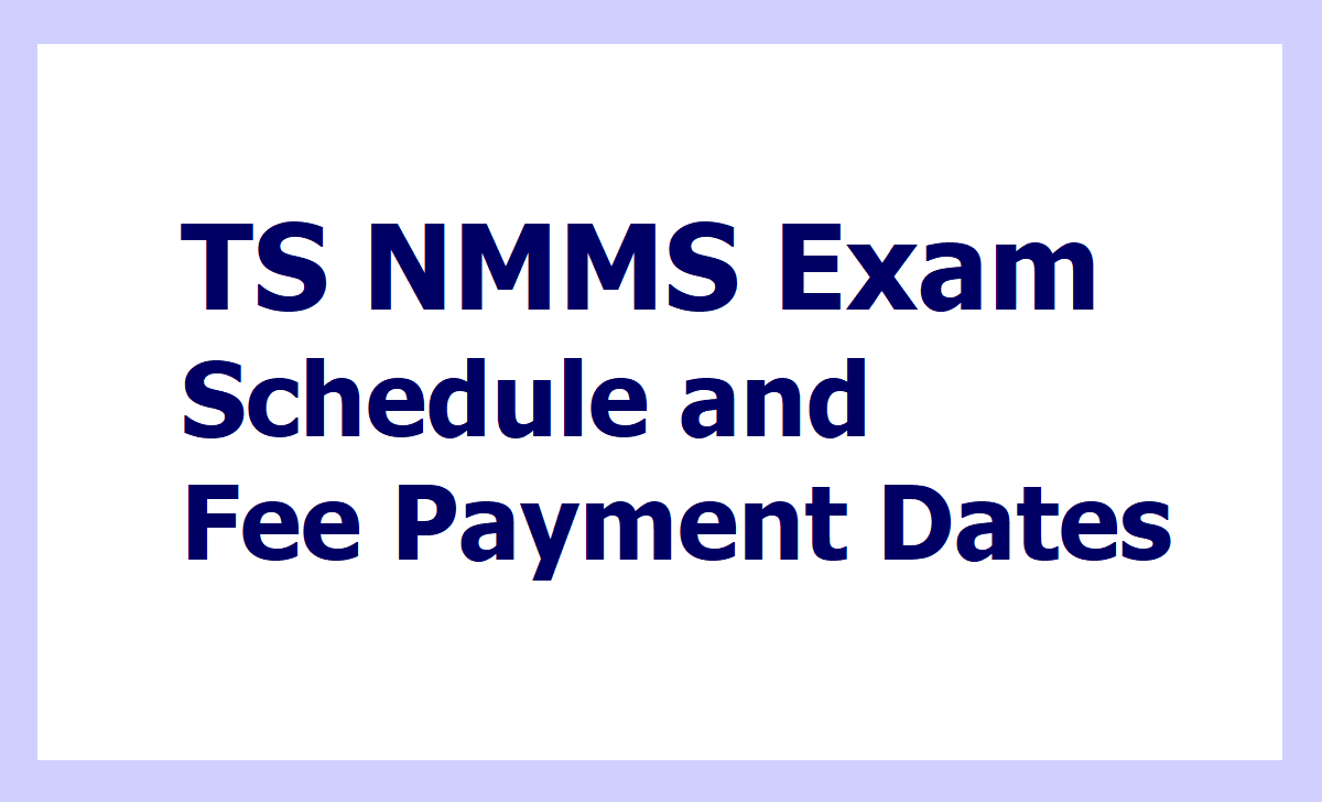 TS NMMS Exam 2020 Fee Payment Dates and Schedule