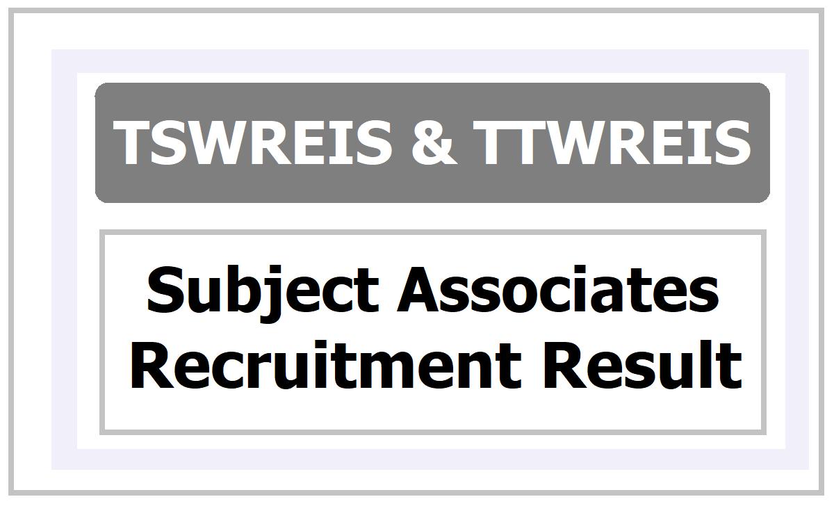 TSWREIS TTWREIS Subject Associates Result 2020 Released, Check it at tswreis.in