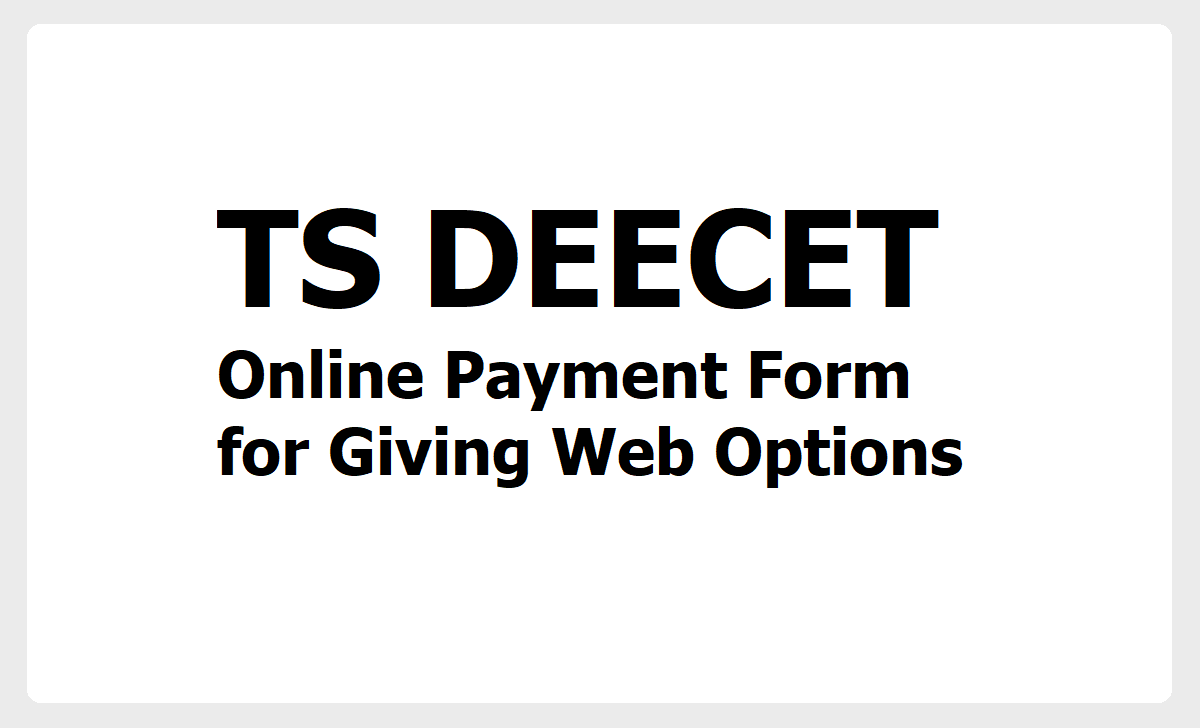 TS DEECET 2020 Online Payment Form for Giving Web Options