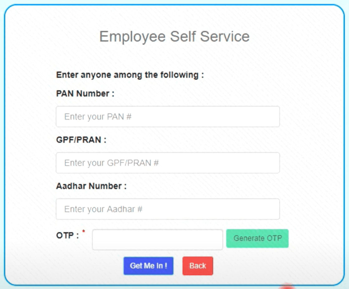 Employee Self Service web application box