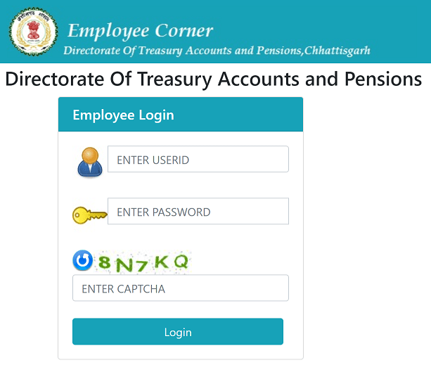 Department of Directorate of Treasury Accounts & Pension Web Application