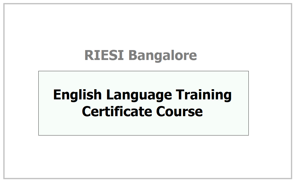 English Language Training Certificate Course 2021