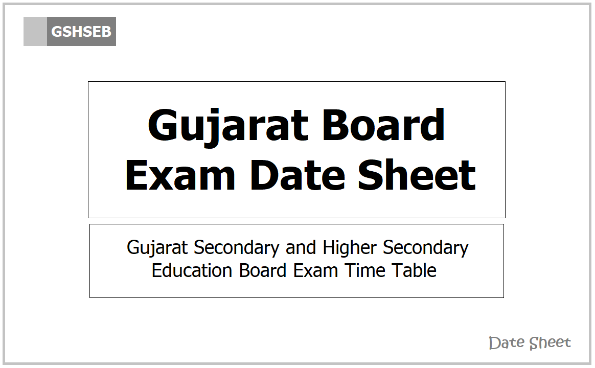 Gujarat Board Exam Date Sheet 2021 for Class 10, Class 12 Exams on GSHSEB website