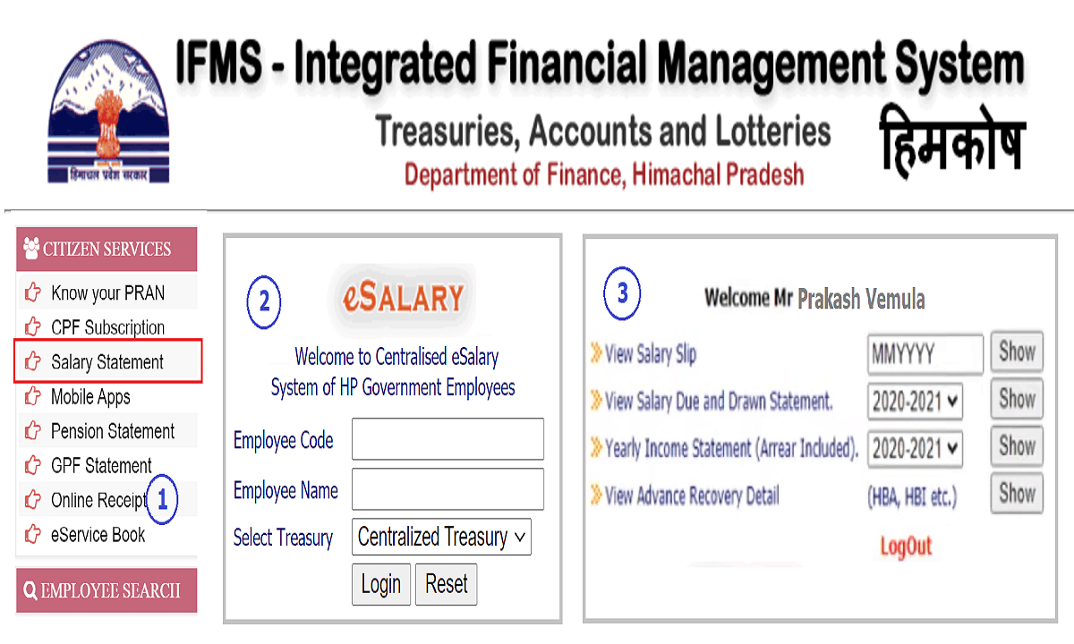 Himachal Pradesh Employee Pay Slip 2021 download IFMS Himkosh Web Portal