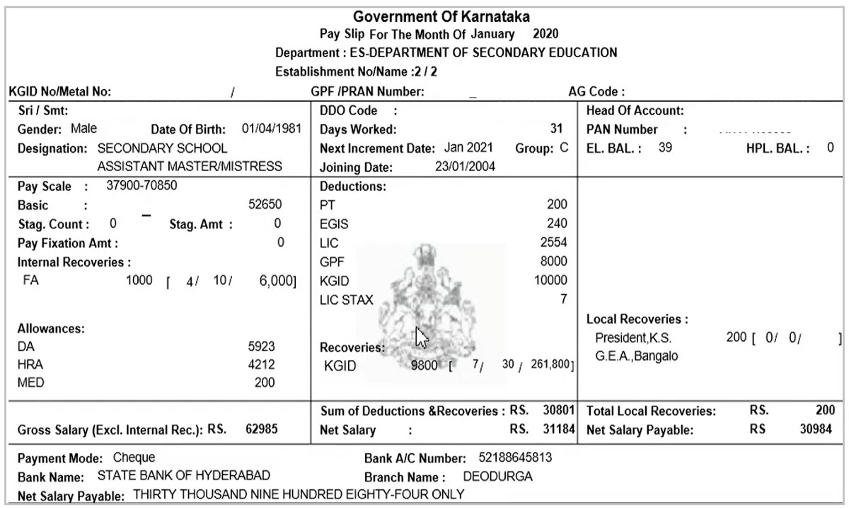 Model Karnataka Pay Slip 2021
