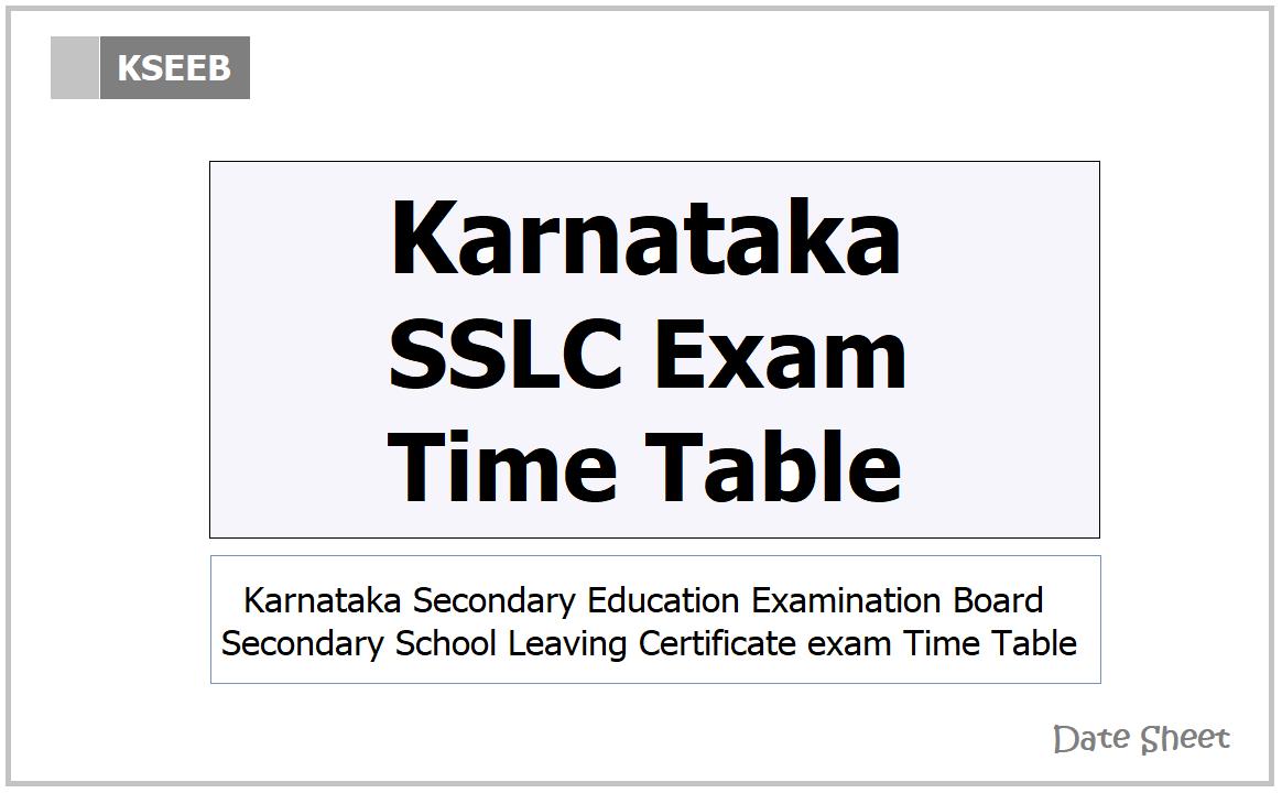 Karnataka SSLC Exam Time Table 2021 for Class 10 on KSEEB website
