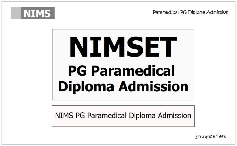 NIMS PG Paramedical Diploma Admission 2021, Apply Online ...