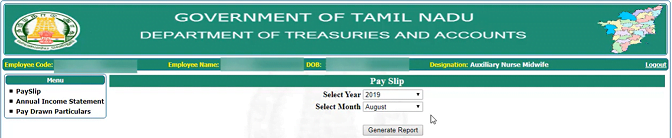 Tamilnadu Employee Salary Slip 2021