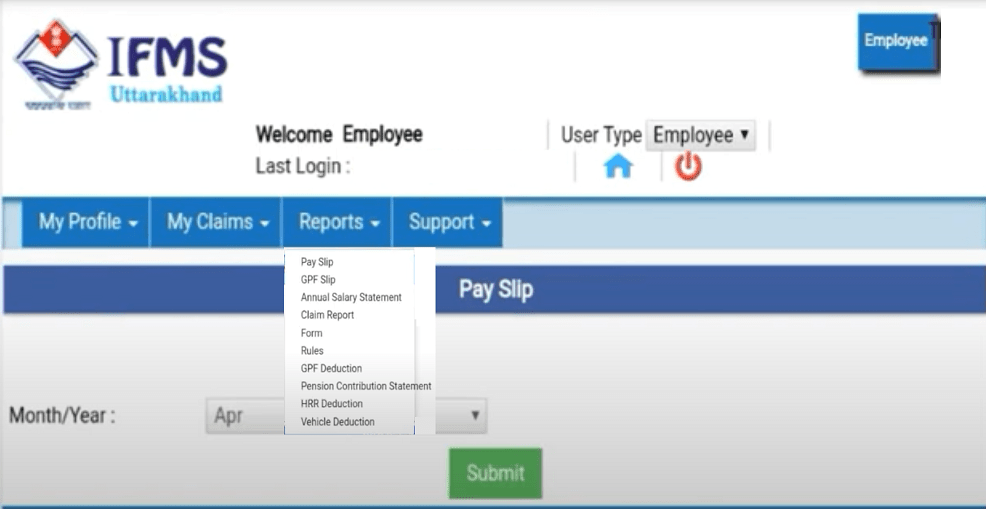 Uttarakhand Employee Pay Slip Generate Website