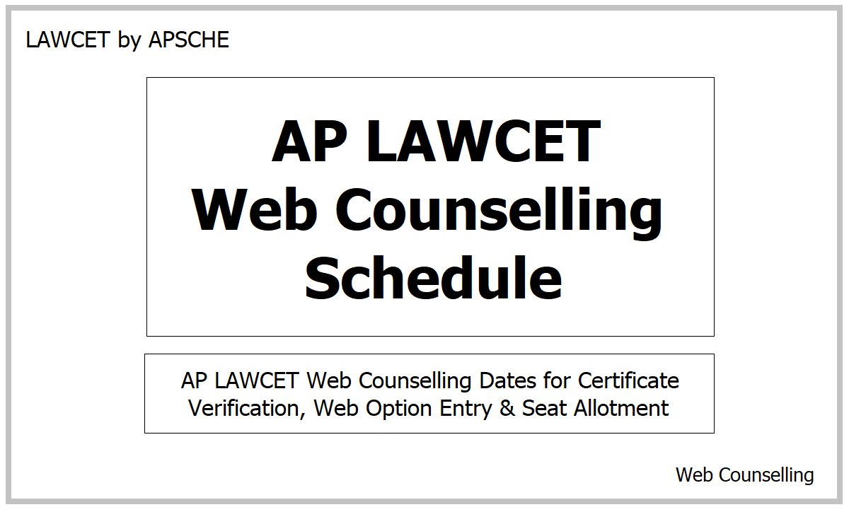 AP LAWCET Web Counselling Schedule 2021 for Certificate Verification, Web Option Entry & Seat Allotment