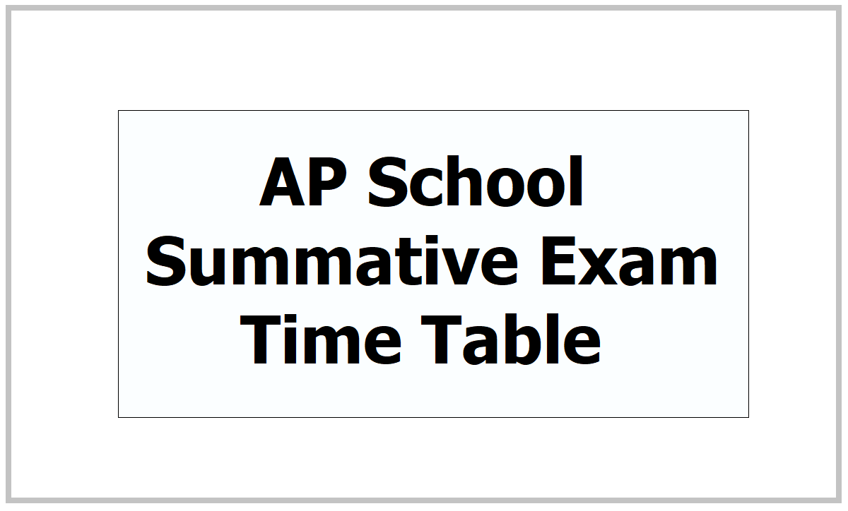 AP School Summative Exam Time Table 2021 for Class 1 to 9 Annual Exams