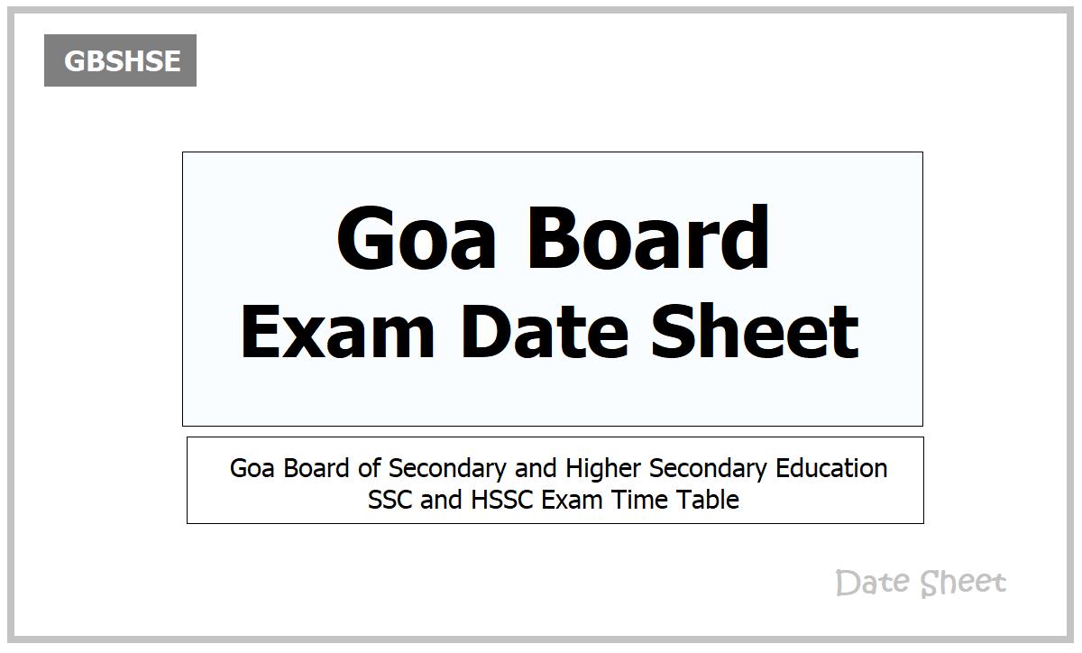 Goa Board Exam Date Sheet 2021