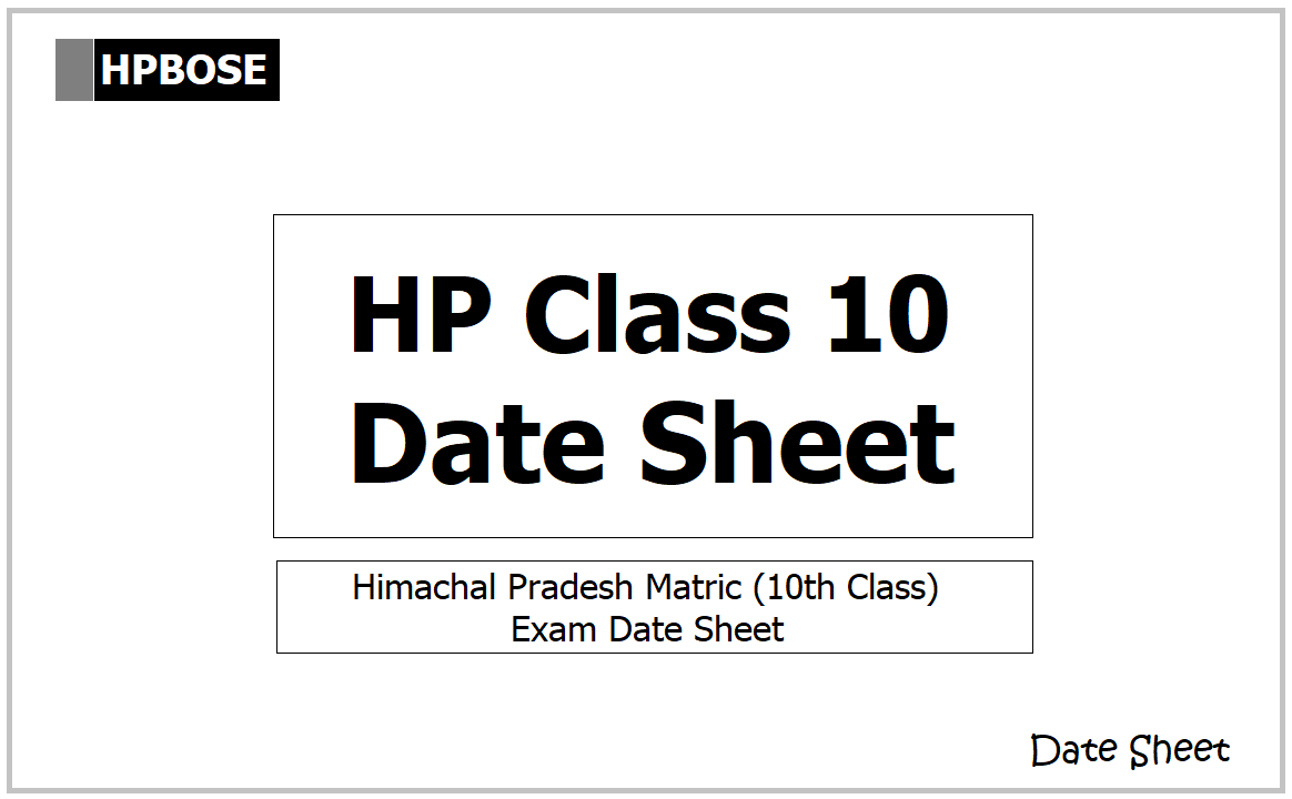 HPBOSE Class 10 Time Table 2021