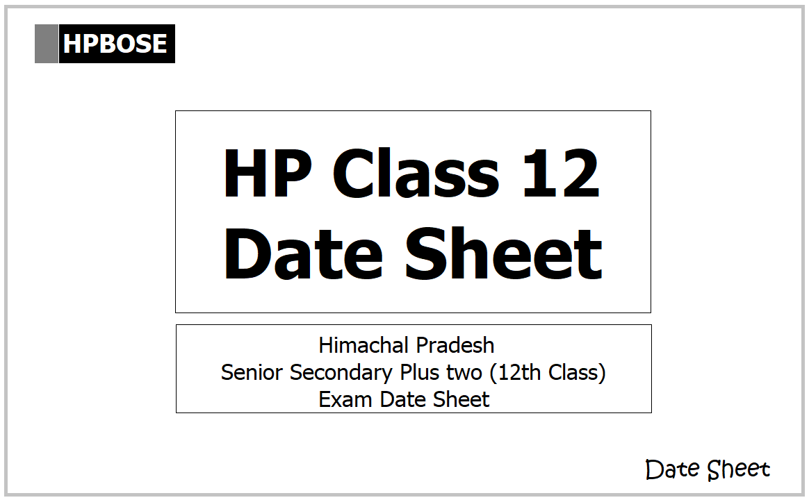 HPBOSE Class 12 Time Table 2021