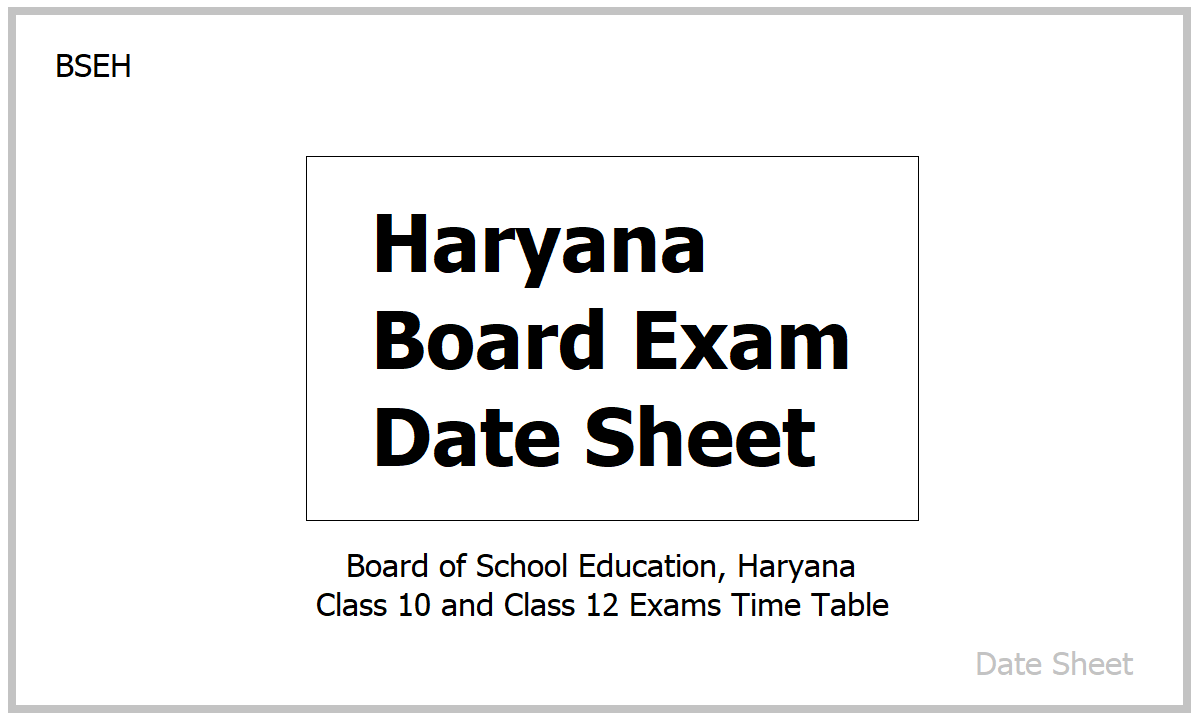 Haryana Board Exam Date Sheet 2021