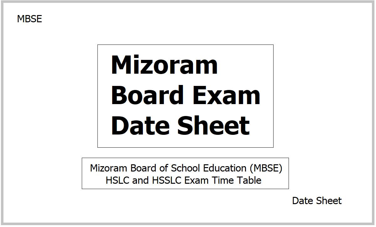Mizoram Board Exam Date Sheet 2021