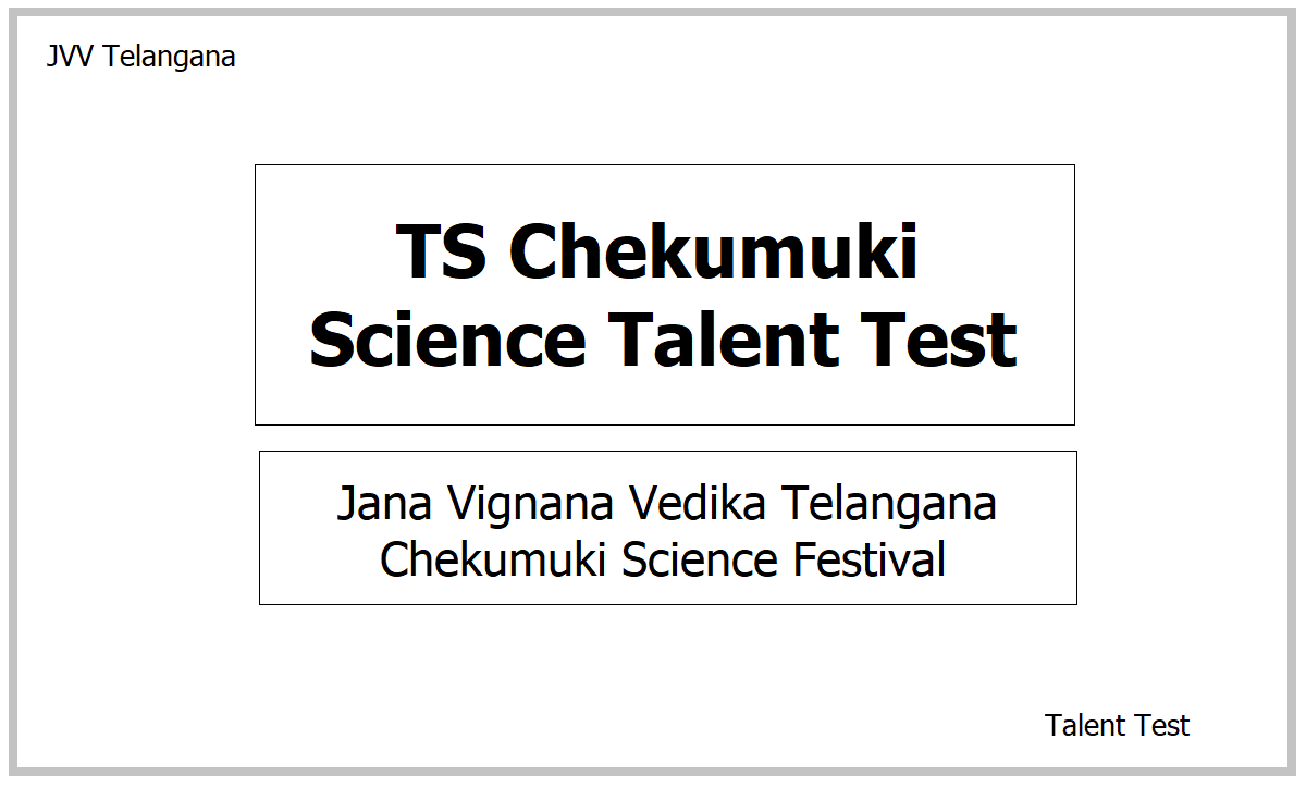 TS Chekumuki Science Talent Test 2021 at School, District and State Level (Online Mode)