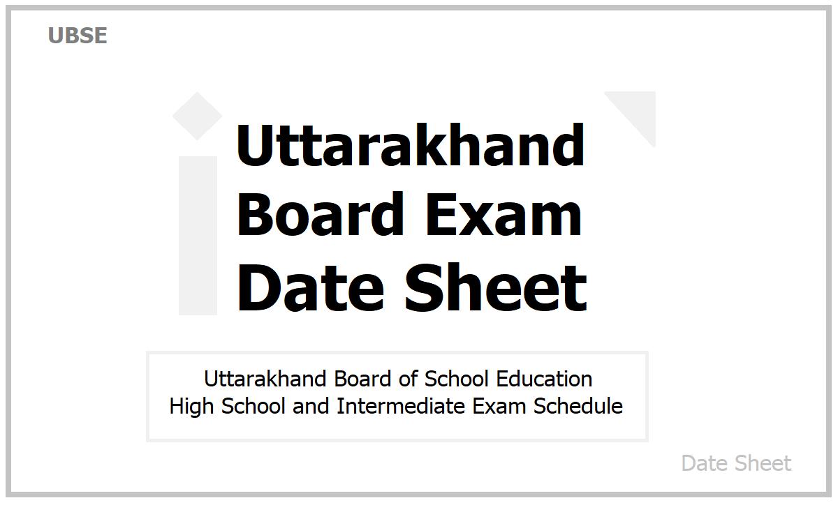 Uttarakhand Board Exam Date Sheet 2021