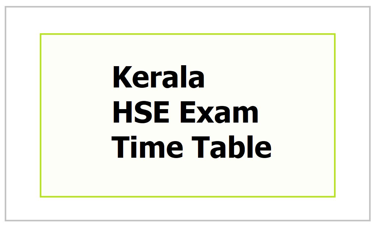 Kerala HSE Exam Time Table 2021
