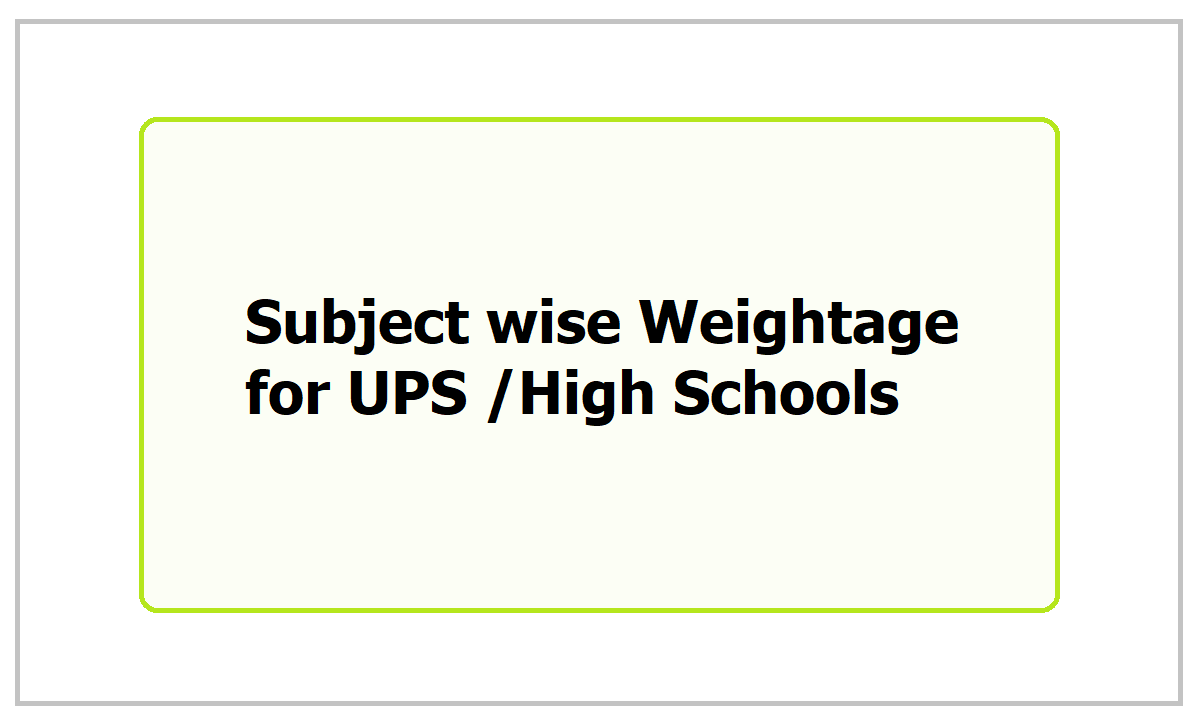 Subject wise Weightage for UPS, High Schools