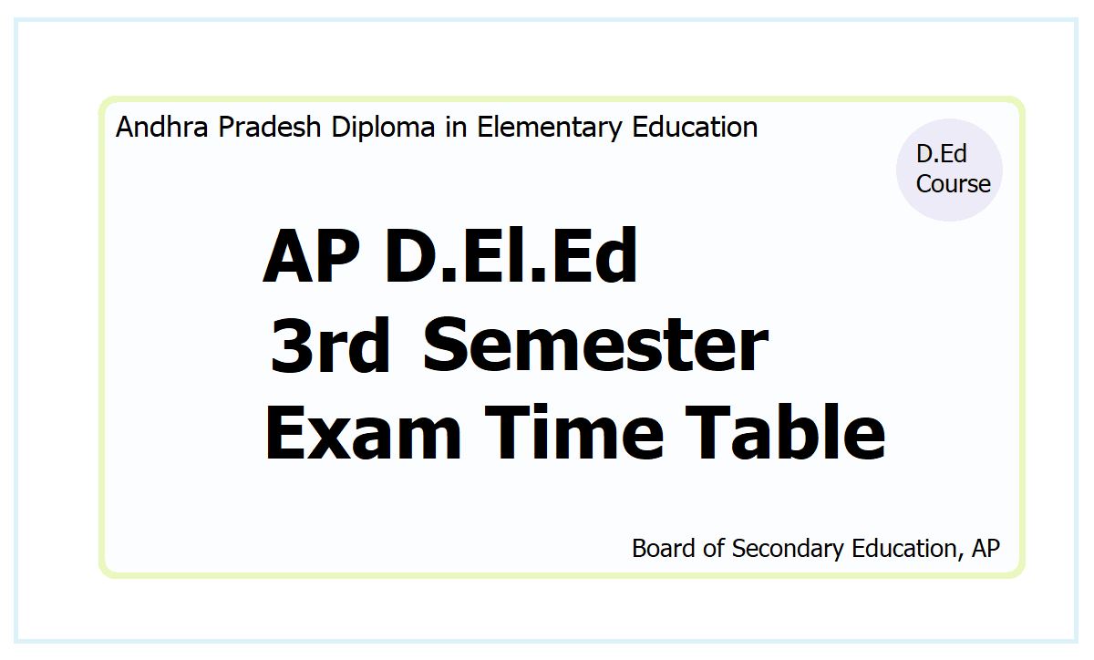 AP D.El.Ed 3rd Semester Exam Time Table 2021 download from here