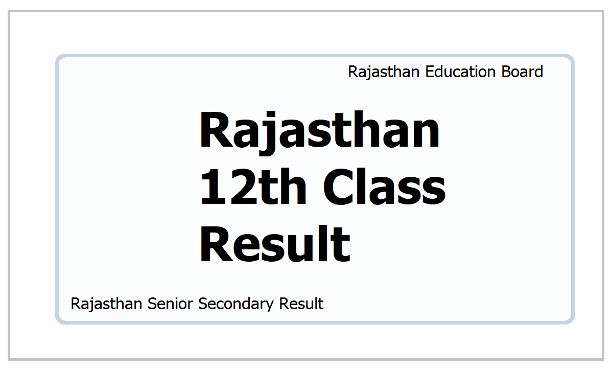 Rajasthan 12th Class Result 2021
