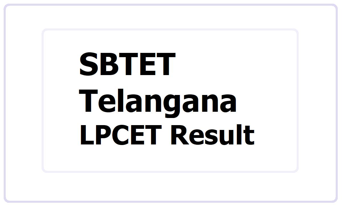 SBTET LPCET Result 2021