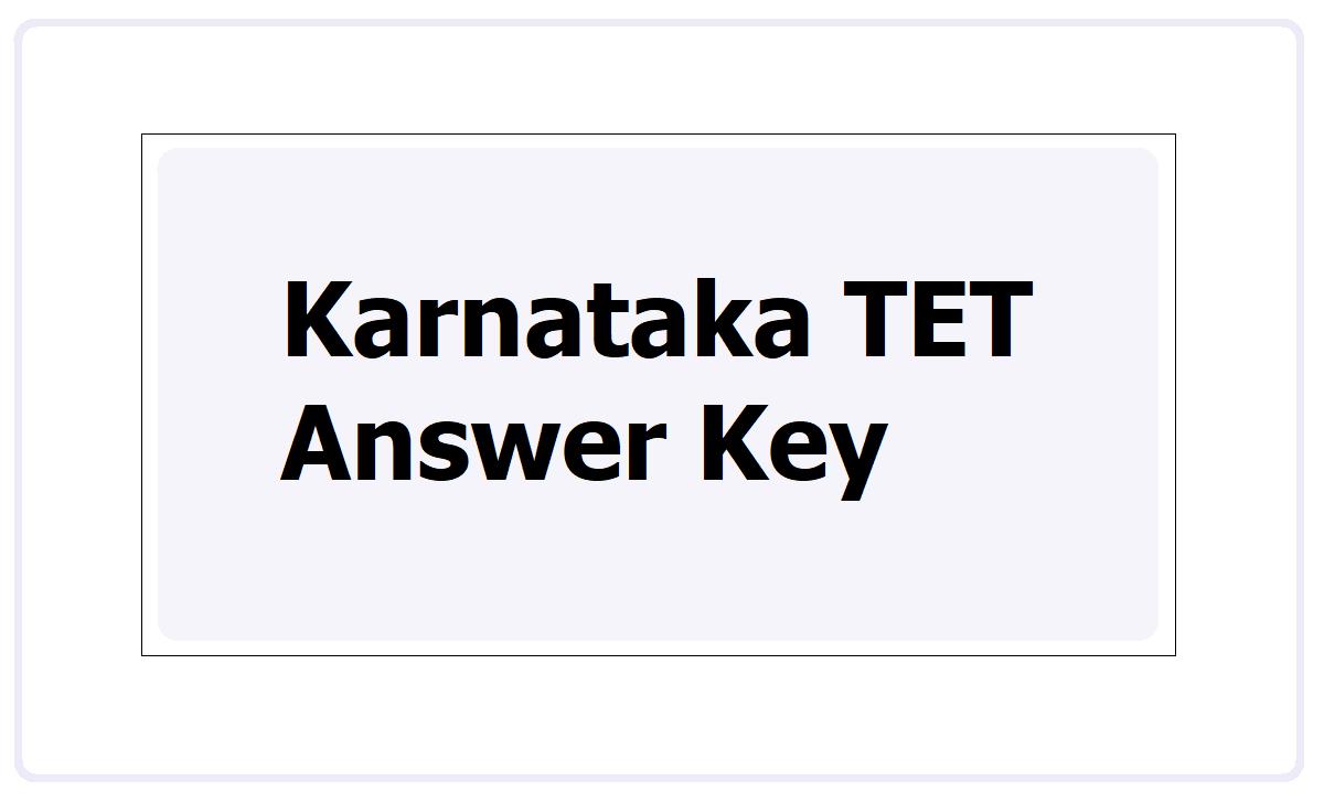 Karnataka TET Answer Key 2021