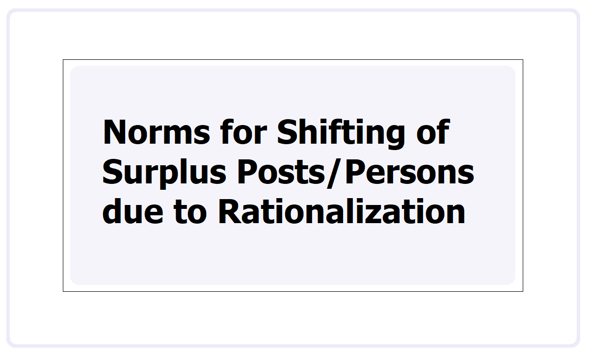 Norms for Shifting of Surplus Posts, Persons due to Rationalization in TS Schools