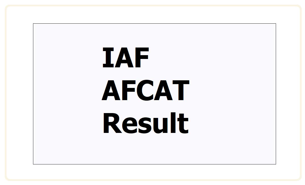 IAF AFCAT Result 2021